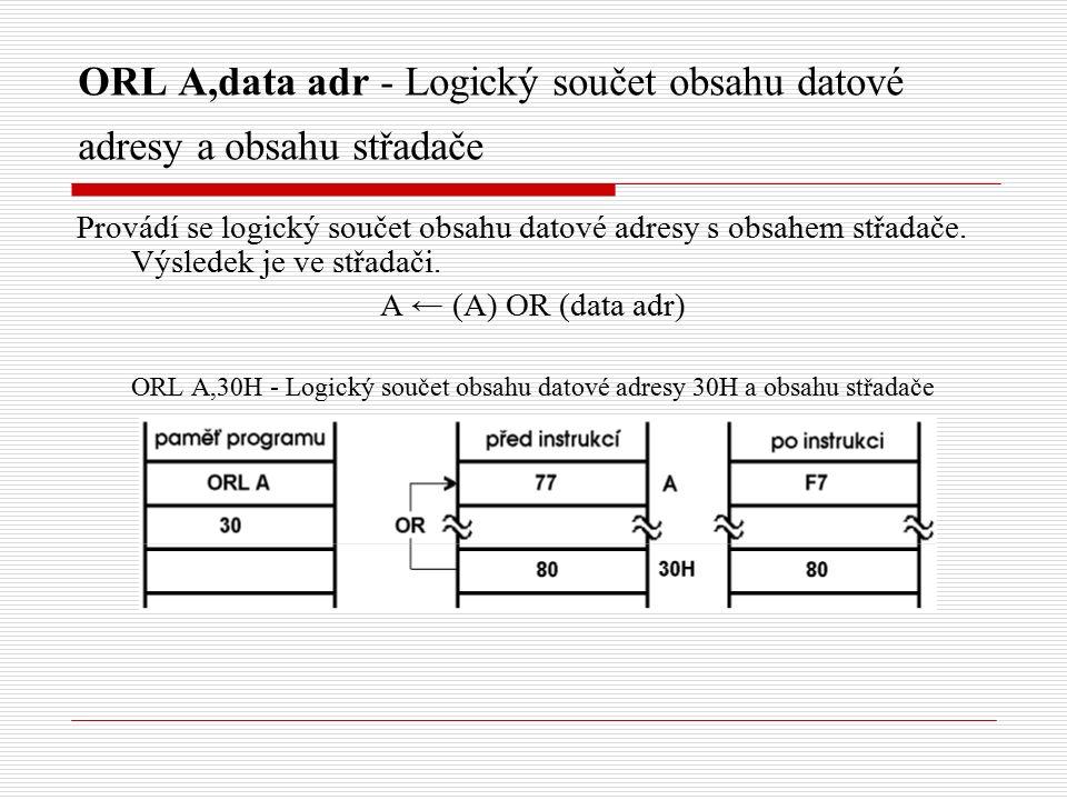 ORL A,data adr - Logický součet obsahu datové adresy a obsahu střadače Provádí se logický součet obsahu datové adresy s obsahem střadače.