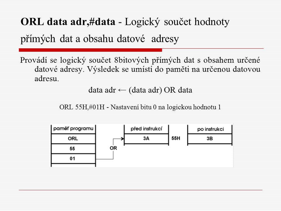 ORL data adr,#data - Logický součet hodnoty přímých dat a obsahu datové adresy Provádí se logický součet 8bitových přímých dat s obsahem určené datové adresy.
