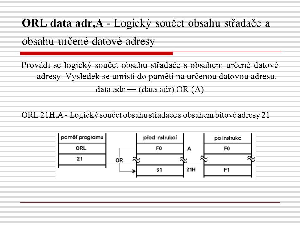 ORL data adr,A - Logický součet obsahu střadače a obsahu určené datové adresy Provádí se logický součet obsahu střadače s obsahem určené datové adresy.