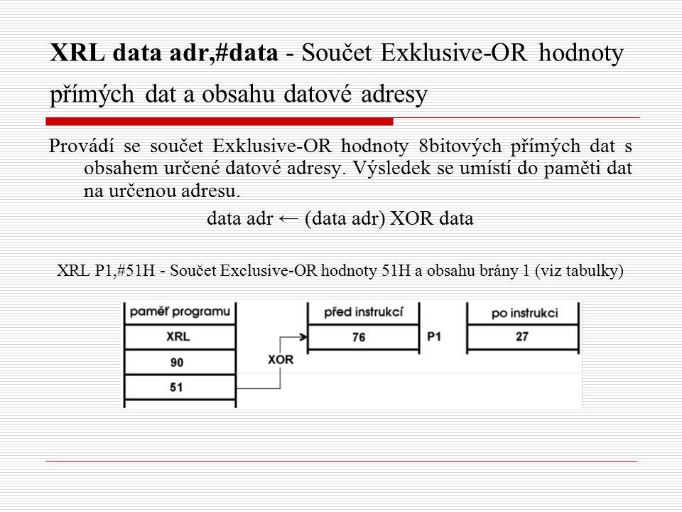XRL data adr,#data - Součet Exklusive-OR hodnoty přímých dat a obsahu datové adresy Provádí se součet Exklusive-OR hodnoty 8bitových přímých dat s obsahem určené datové adresy.