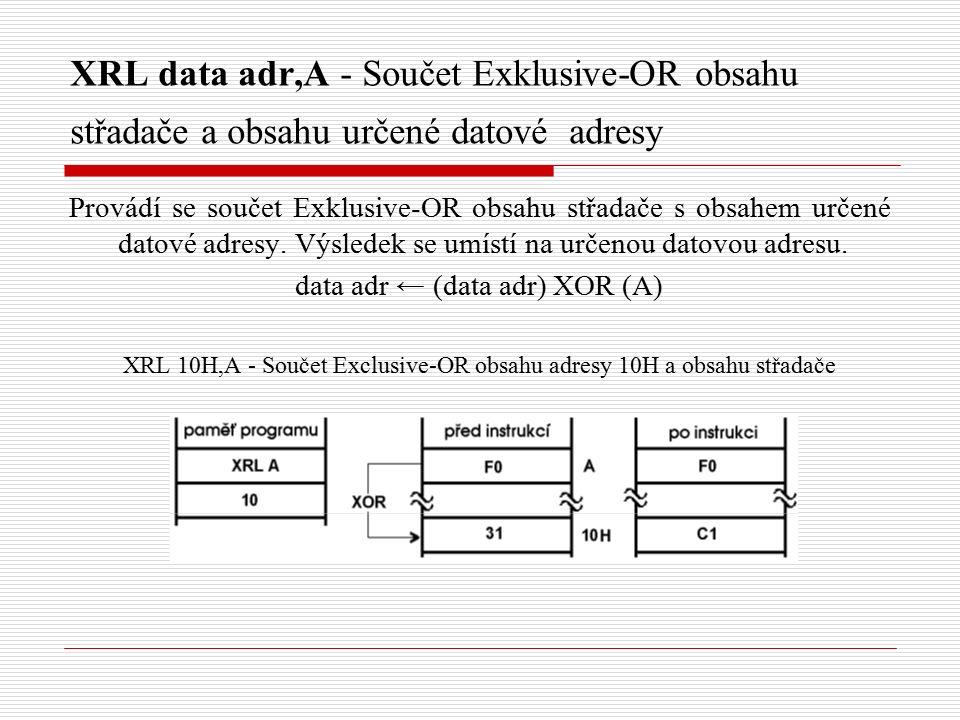 XRL data adr,A - Součet Exklusive-OR obsahu střadače a obsahu určené datové adresy Provádí se součet Exklusive-OR obsahu střadače s obsahem určené datové adresy.