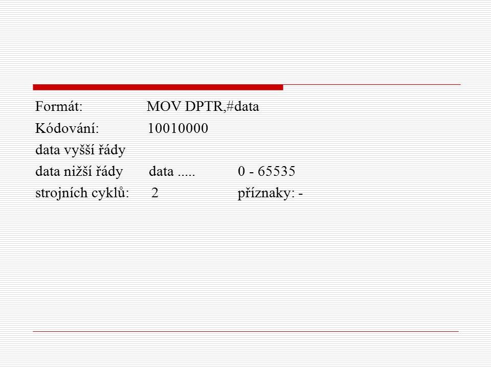 Formát: MOV DPTR,#data Kódování: 10010000 data vyšší řády data nižší řády data.....