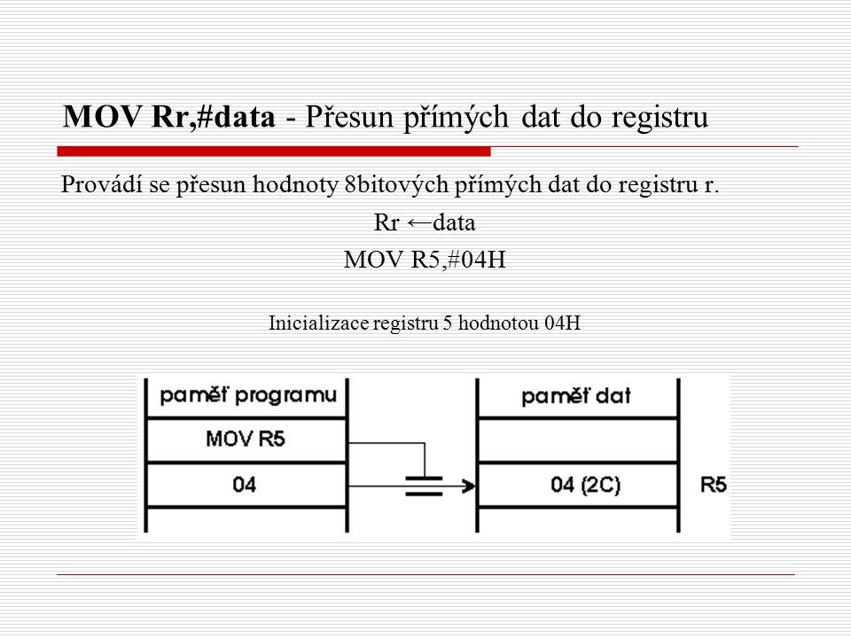 MOV Rr,#data - Přesun přímých dat do registru Provádí se přesun hodnoty 8bitových přímých dat do registru r.