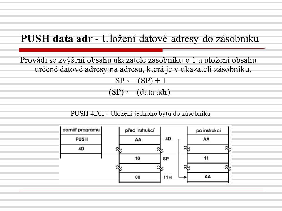 PUSH data adr - Uložení datové adresy do zásobníku Provádí se zvýšení obsahu ukazatele zásobníku o 1 a uložení obsahu určené datové adresy na adresu, která je v ukazateli zásobníku.