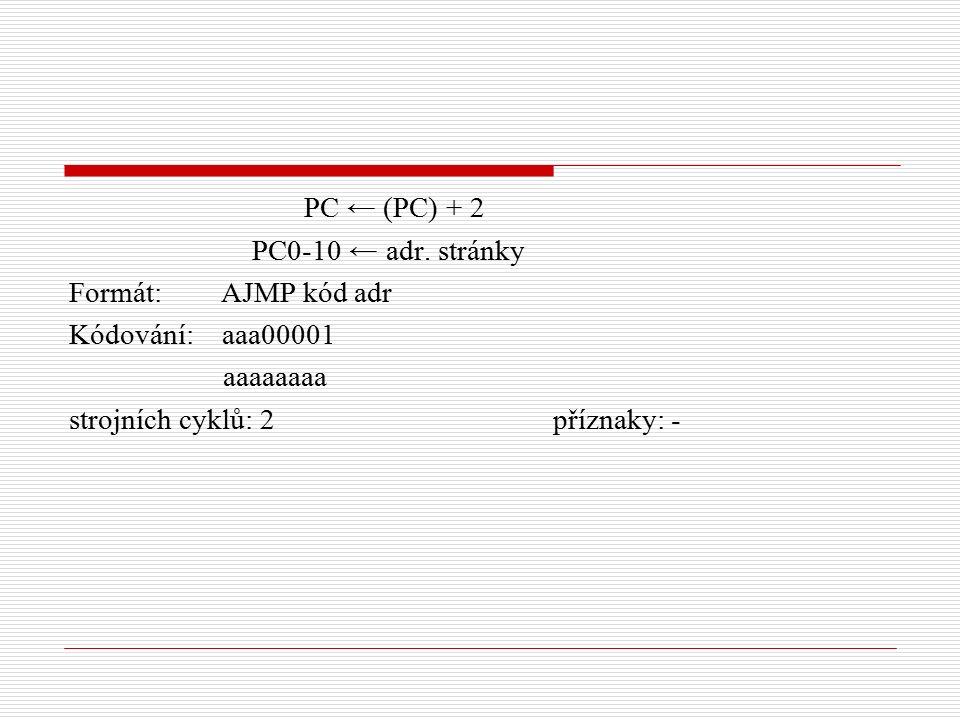 PC ← (PC) + 2 PC0-10 ← adr.