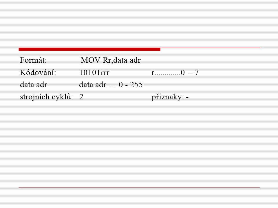 Formát: MOV Rr,data adr Kódování: 10101rrr r.............0 – 7 data adr data adr...