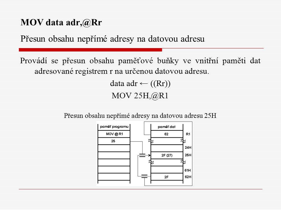 MOV data adr,@Rr Přesun obsahu nepřímé adresy na datovou adresu Provádí se přesun obsahu paměťové buňky ve vnitřní paměti dat adresované registrem r na určenou datovou adresu.