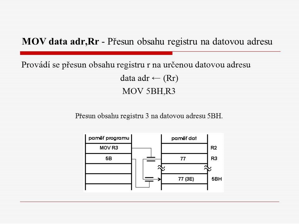 MOV data adr,Rr - Přesun obsahu registru na datovou adresu Provádí se přesun obsahu registru r na určenou datovou adresu data adr ← (Rr) MOV 5BH,R3 Přesun obsahu registru 3 na datovou adresu 5BH.