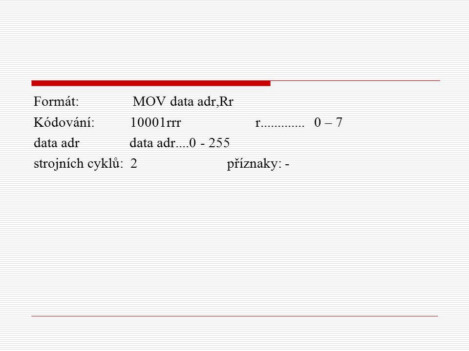 Formát: MOV data adr,Rr Kódování: 10001rrr r.............