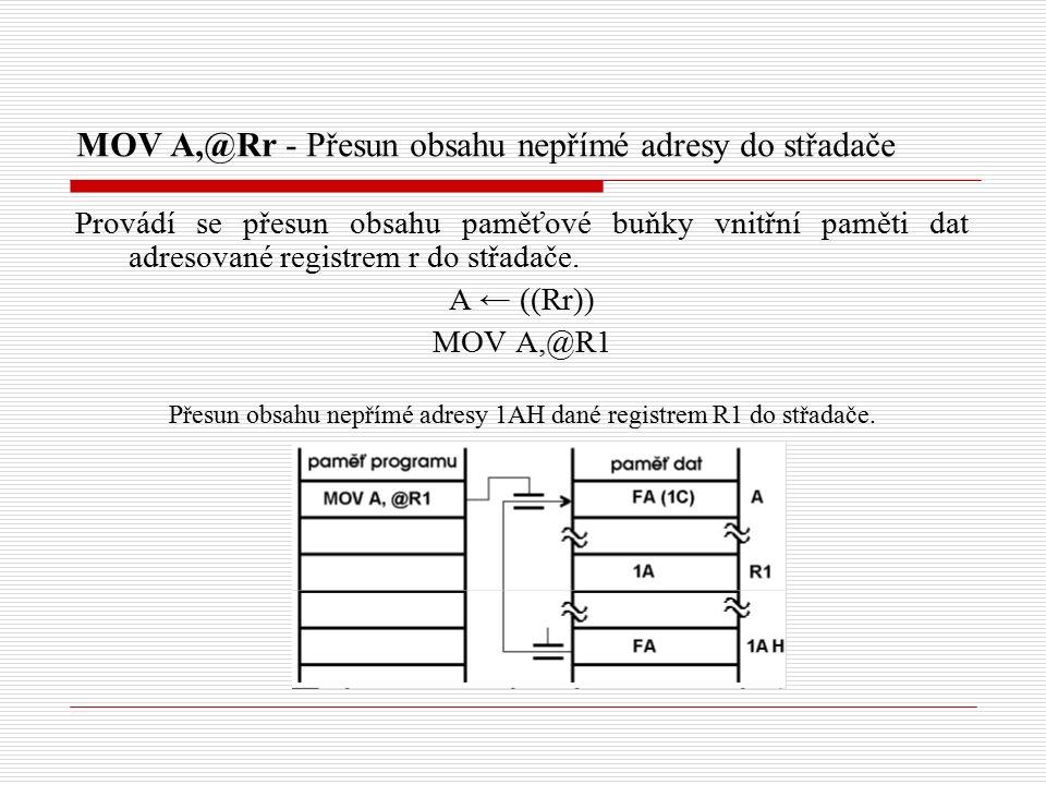 MOV A,@Rr - Přesun obsahu nepřímé adresy do střadače Provádí se přesun obsahu paměťové buňky vnitřní paměti dat adresované registrem r do střadače.