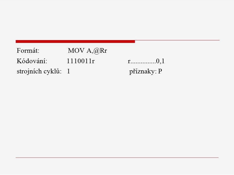 Formát: MOV A,@Rr Kódování: 1110011r r...............0,1 strojních cyklů: 1 příznaky: P