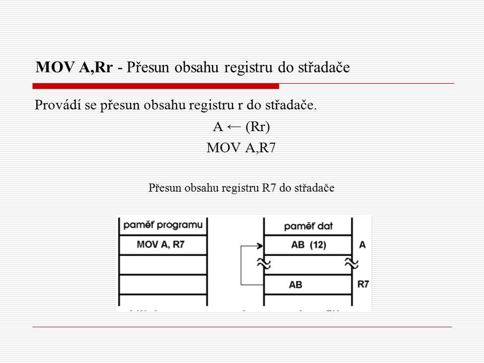 MOV A,Rr - Přesun obsahu registru do střadače Provádí se přesun obsahu registru r do střadače.