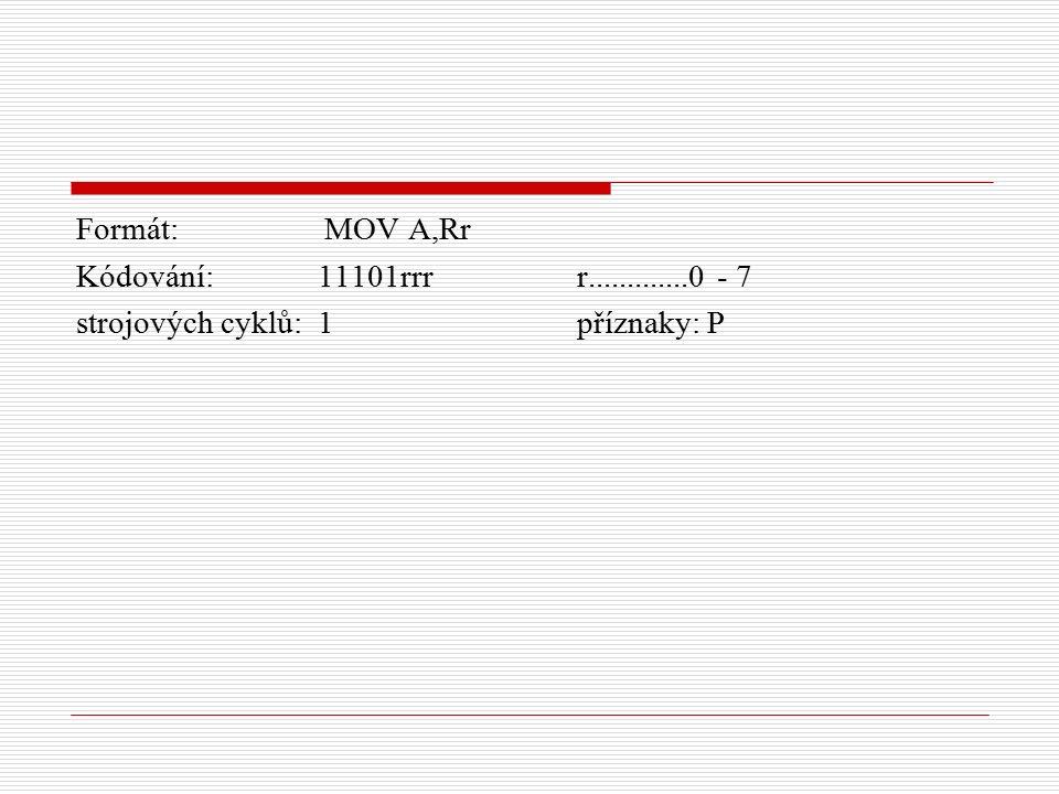 Formát: MOV A,Rr Kódování: 11101rrr r.............0 - 7 strojových cyklů: 1 příznaky: P