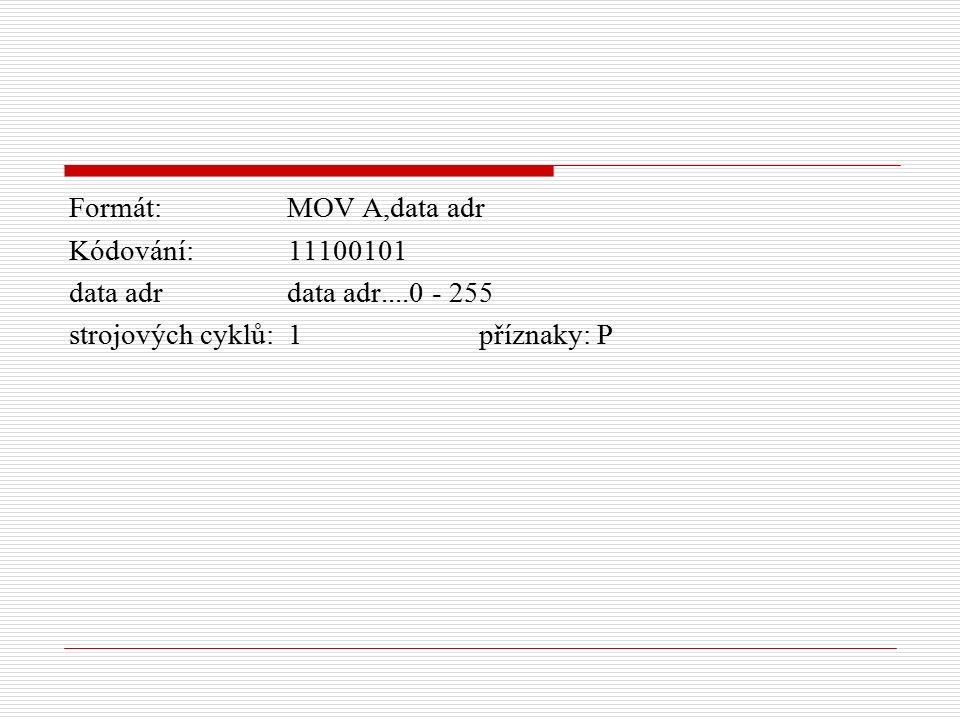Formát: MOV A,data adr Kódování: 11100101 data adr data adr....0 - 255 strojových cyklů: 1 příznaky: P