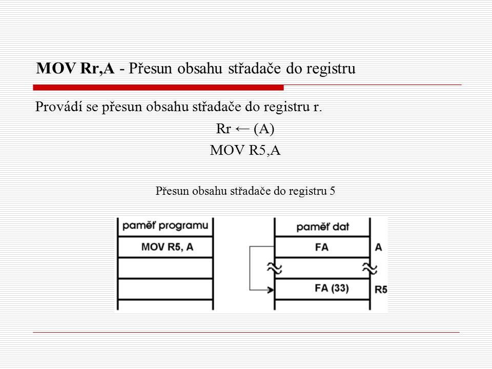 MOV Rr,A - Přesun obsahu střadače do registru Provádí se přesun obsahu střadače do registru r.