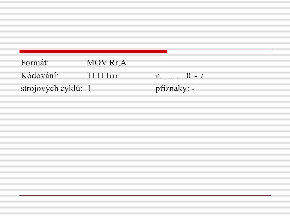 Formát: MOV Rr,A Kódování: 11111rrr r.............0 - 7 strojových cyklů: 1 příznaky: -