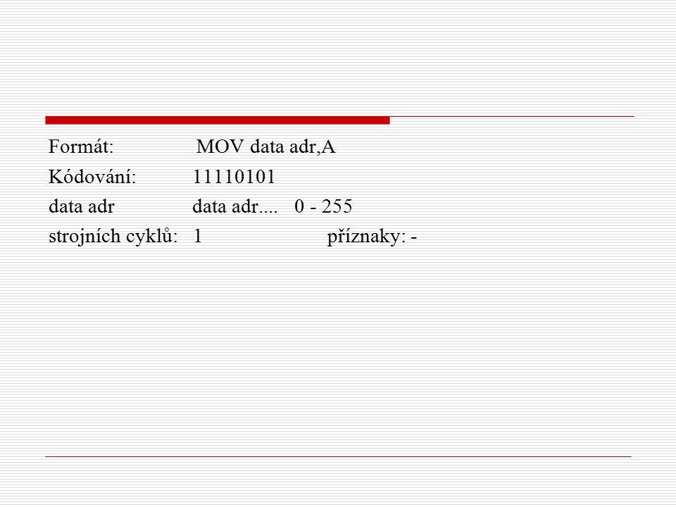 Formát: MOV data adr,A Kódování: 11110101 data adr data adr....