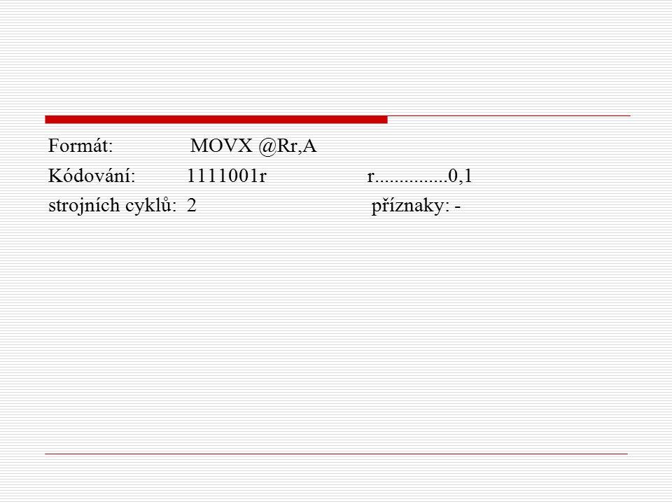 Formát: MOVX @Rr,A Kódování: 1111001r r...............0,1 strojních cyklů: 2 příznaky: -