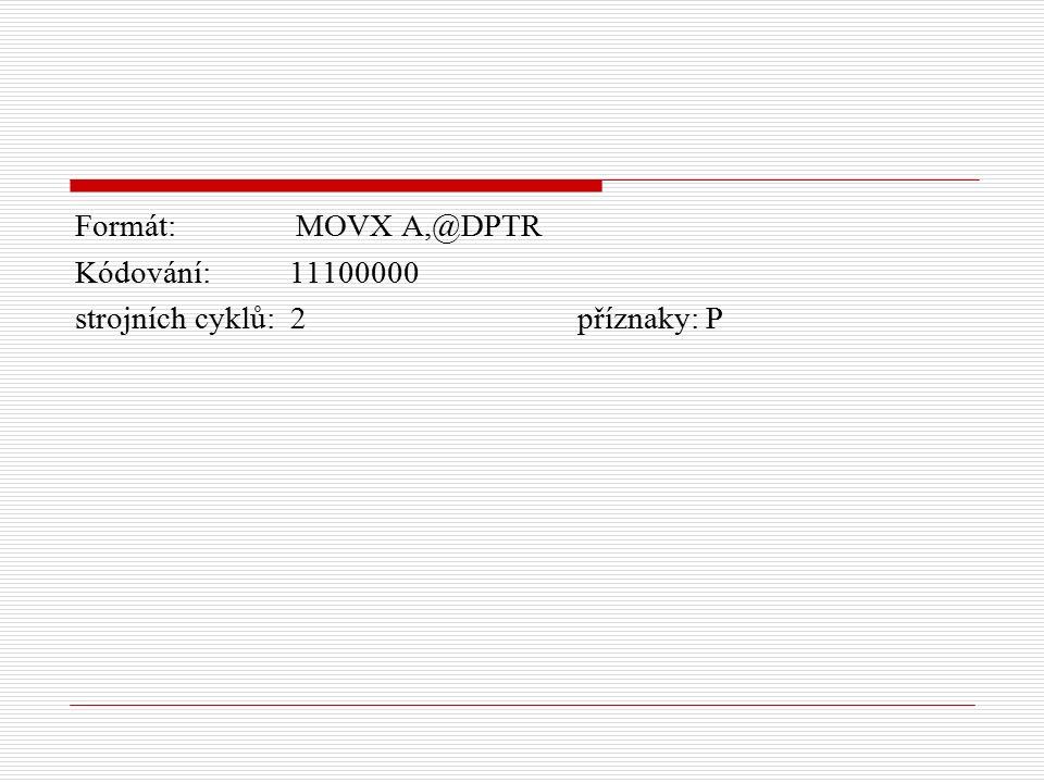 Formát: MOVX A,@DPTR Kódování: 11100000 strojních cyklů: 2 příznaky: P
