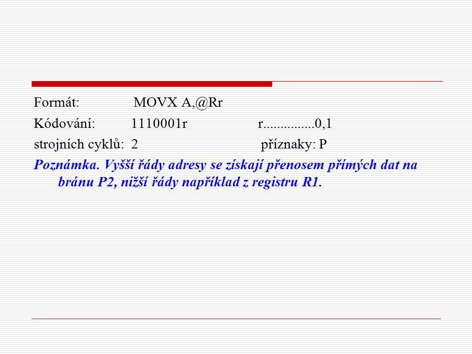 Formát: MOVX A,@Rr Kódování: 1110001r r...............0,1 strojních cyklů: 2 příznaky: P Poznámka.