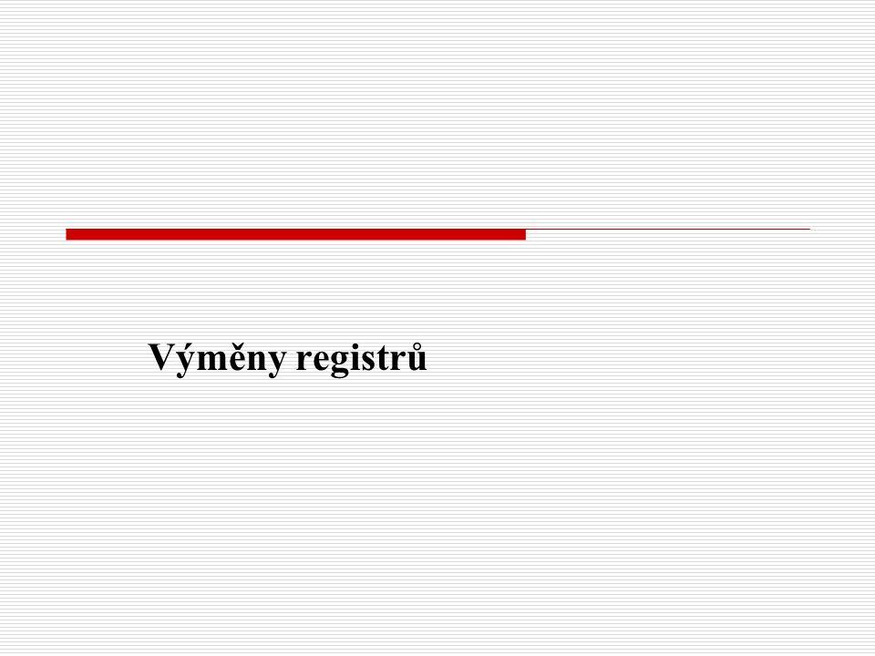 Výměny registrů