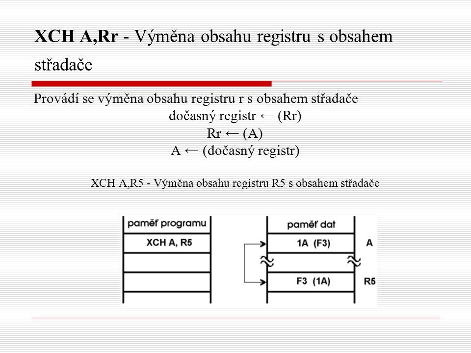 XCH A,Rr - Výměna obsahu registru s obsahem střadače Provádí se výměna obsahu registru r s obsahem střadače dočasný registr ← (Rr) Rr ← (A) A ← (dočasný registr) XCH A,R5 - Výměna obsahu registru R5 s obsahem střadače