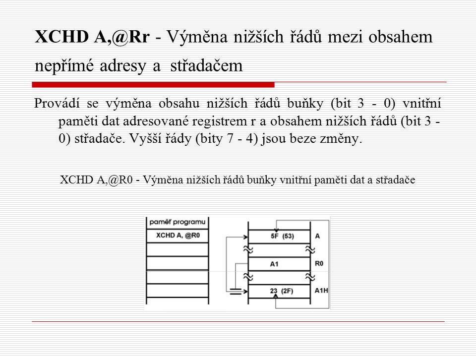 XCHD A,@Rr - Výměna nižších řádů mezi obsahem nepřímé adresy a střadačem Provádí se výměna obsahu nižších řádů buňky (bit 3 - 0) vnitřní paměti dat adresované registrem r a obsahem nižších řádů (bit 3 - 0) střadače.
