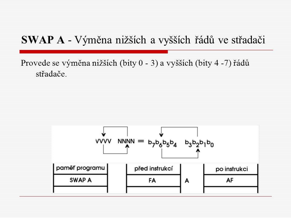 SWAP A - Výměna nižších a vyšších řádů ve střadači Provede se výměna nižších (bity 0 - 3) a vyšších (bity 4 -7) řádů střadače.
