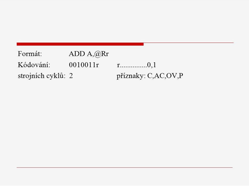 Formát: ADD A,@Rr Kódování: 0010011r r...............0,1 strojních cyklů: 2 příznaky: C,AC,OV,P