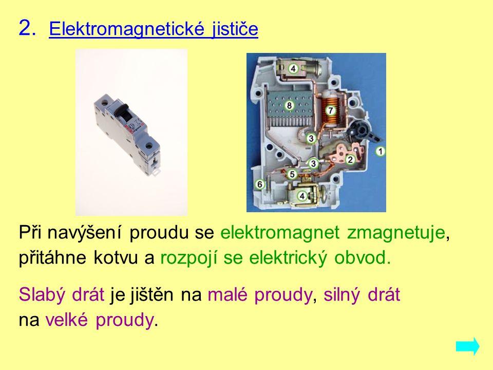 2. Elektromagnetické jističe Při navýšení proudu se elektromagnet zmagnetuje, přitáhne kotvu a rozpojí se elektrický obvod. Slabý drát je jištěn na ma