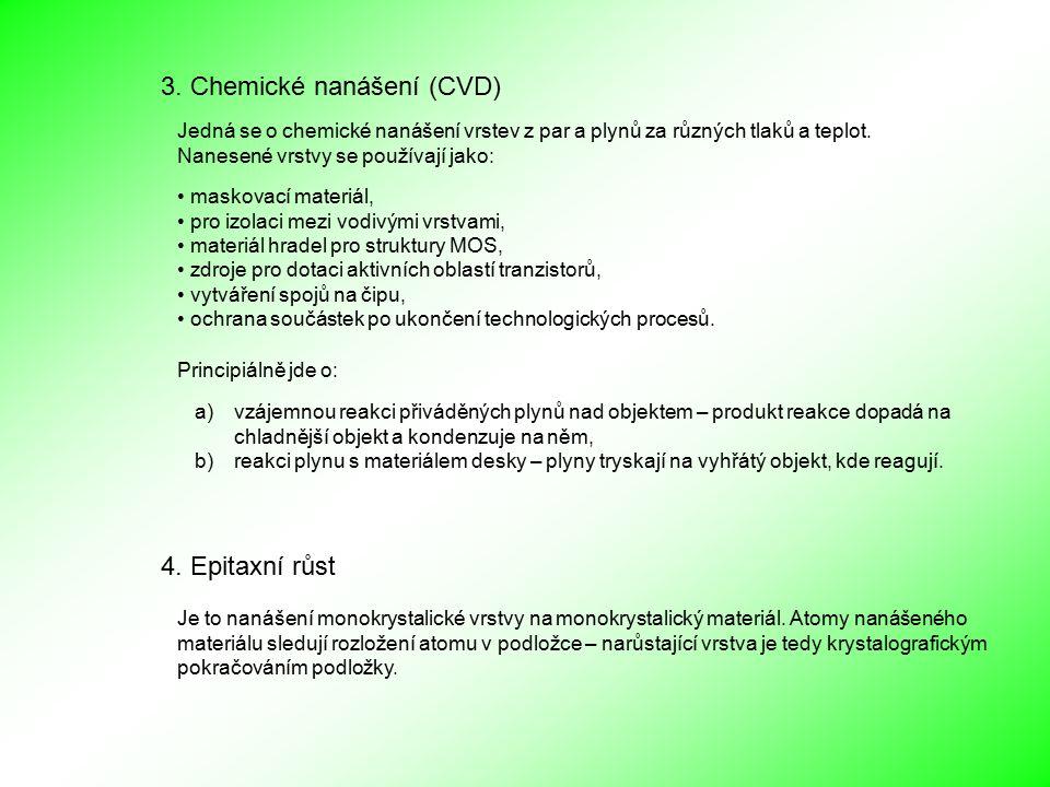 3. Chemické nanášení (CVD) Jedná se o chemické nanášení vrstev z par a plynů za různých tlaků a teplot. Nanesené vrstvy se používají jako: maskovací m