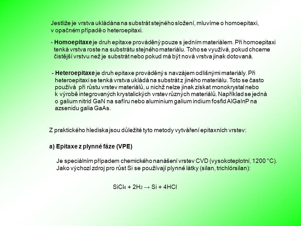 Z praktického hlediska jsou důležité tyto metody vytváření epitaxních vrstev: a) Epitaxe z plynné fáze (VPE) Jestliže je vrstva ukládána na substrát stejného složení, mluvíme o homoepitaxi, v opačném případě o heteroepitaxi.
