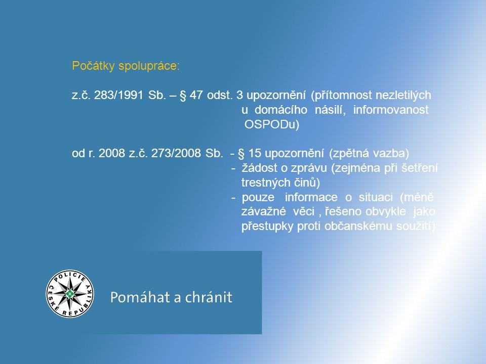 Počátky spolupráce: z.č. 283/1991 Sb. – § 47 odst.