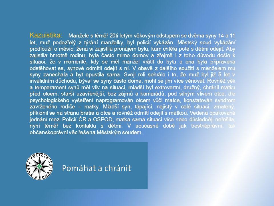 Současná situace kontakt Policie ČR a OSPOD - písemné upozornění ( orgánů veřejné správy v rámci spolupráce na skutečnosti, které se dotýkají jejich činnosti - telefonicky (operativnější řešení) - osobně (problematické situace) - SVI (systém včasné intervence – datová zpráva příslušnému OSPOD) v rámci trestního řízení i přítomnost pracovníků OSPOD u výslechu nezletilých ( vyžaduje § 102 trestního řádu) osobní jednání policistů na jednotlivých prac.