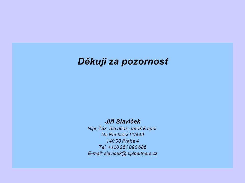 Děkuji za pozornost Jiří Slavíček Nipl, Žák, Slavíček, Jaroš & spol.