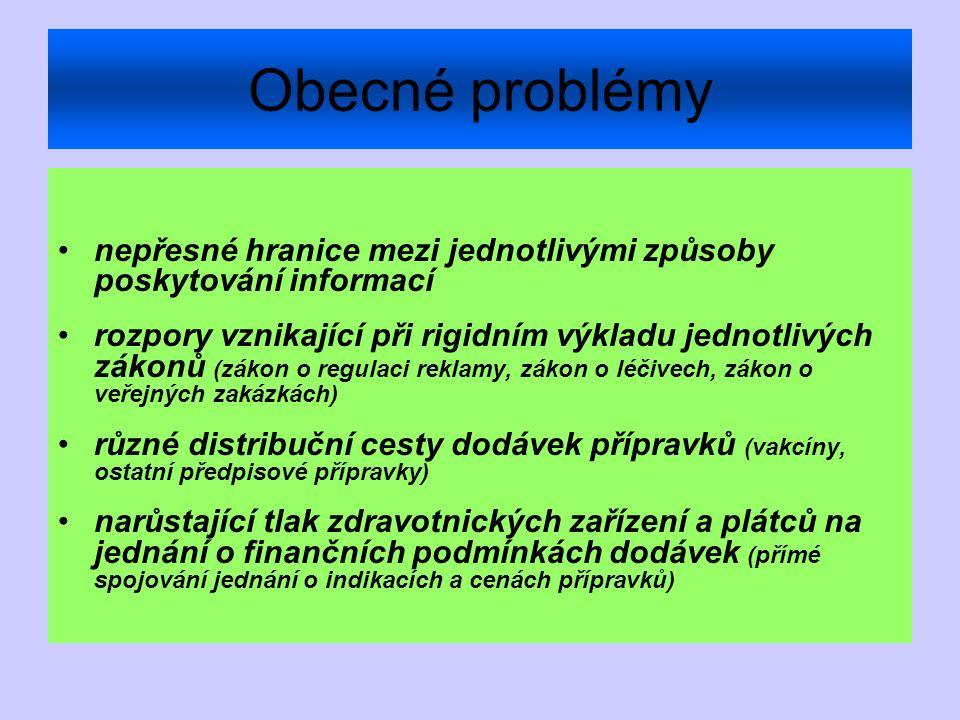 Obecné problémy nepřesné hranice mezi jednotlivými způsoby poskytování informací rozpory vznikající při rigidním výkladu jednotlivých zákonů (zákon o regulaci reklamy, zákon o léčivech, zákon o veřejných zakázkách) různé distribuční cesty dodávek přípravků (vakcíny, ostatní předpisové přípravky) narůstající tlak zdravotnických zařízení a plátců na jednání o finančních podmínkách dodávek (přímé spojování jednání o indikacích a cenách přípravků)