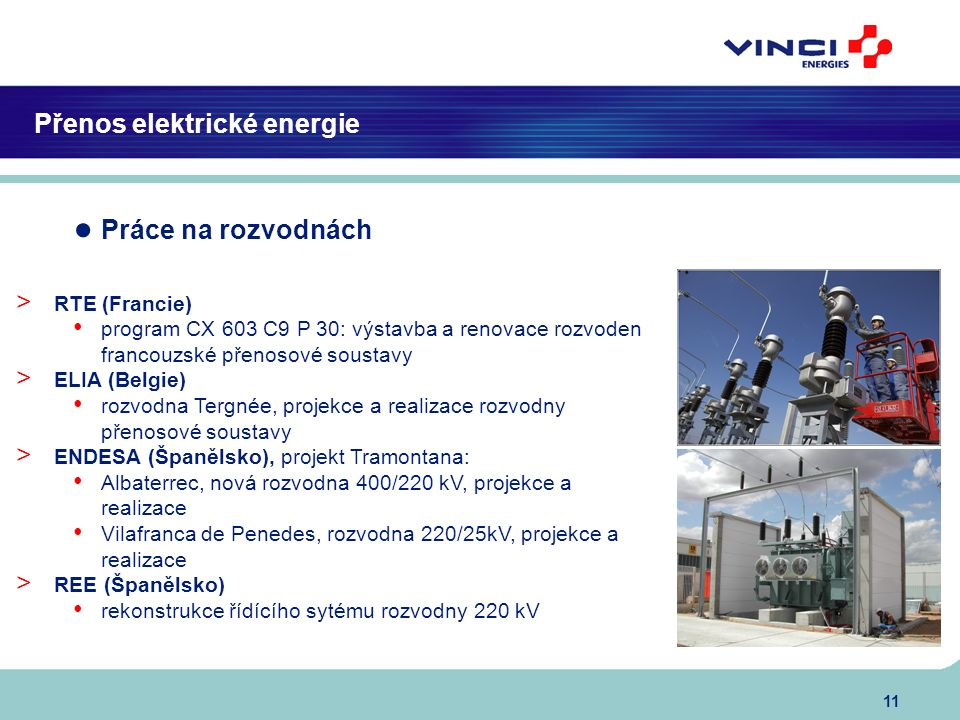 11 Přenos elektrické energie ● Práce na rozvodnách > RTE (Francie) program CX 603 C9 P 30: výstavba a renovace rozvoden francouzské přenosové soustavy > ELIA (Belgie) rozvodna Tergnée, projekce a realizace rozvodny přenosové soustavy > ENDESA (Španělsko), projekt Tramontana: Albaterrec, nová rozvodna 400/220 kV, projekce a realizace Vilafranca de Penedes, rozvodna 220/25kV, projekce a realizace > REE (Španělsko) rekonstrukce řídícího sytému rozvodny 220 kV