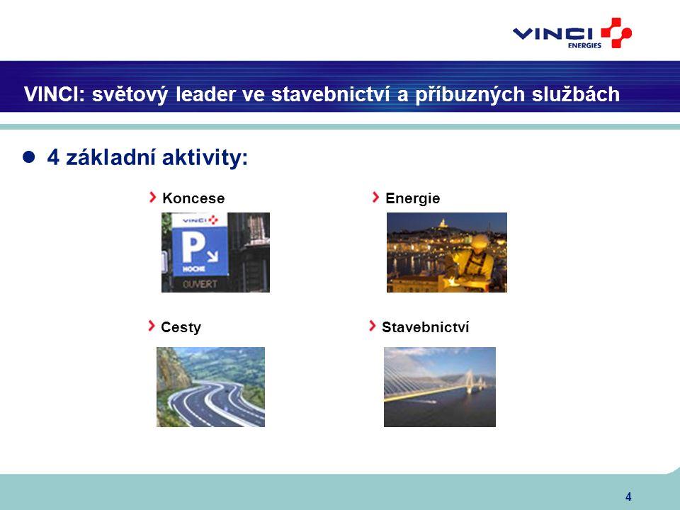 4 VINCI: světový leader ve stavebnictví a příbuzných službách Koncese Energie Cesty Stavebnictví ● 4 základní aktivity: