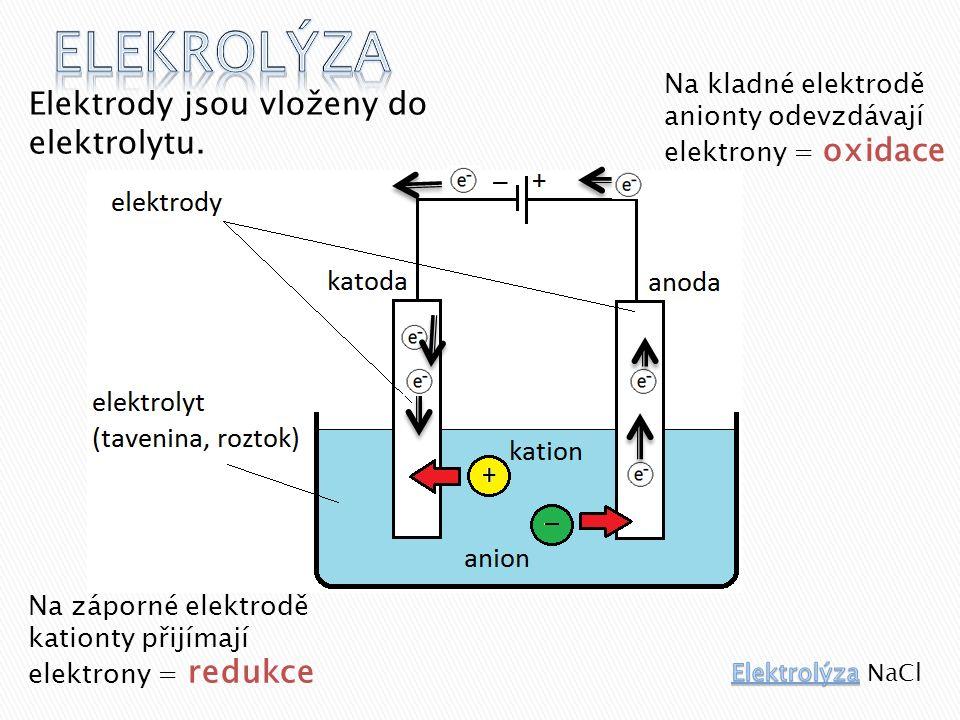 Elektrody jsou vloženy do elektrolytu.