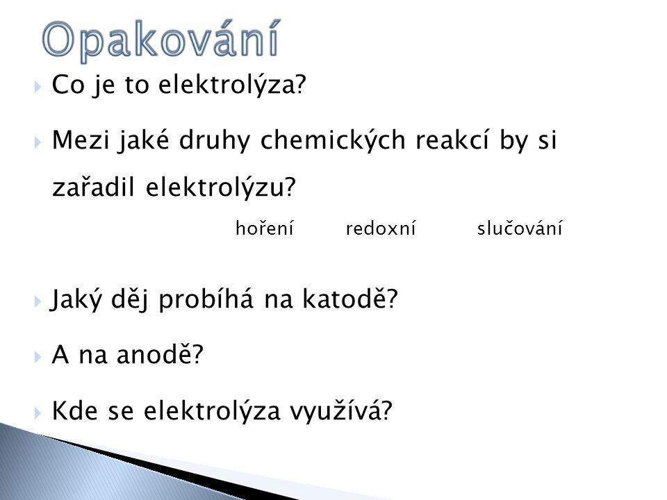  Co je to elektrolýza.  Mezi jaké druhy chemických reakcí by si zařadil elektrolýzu.