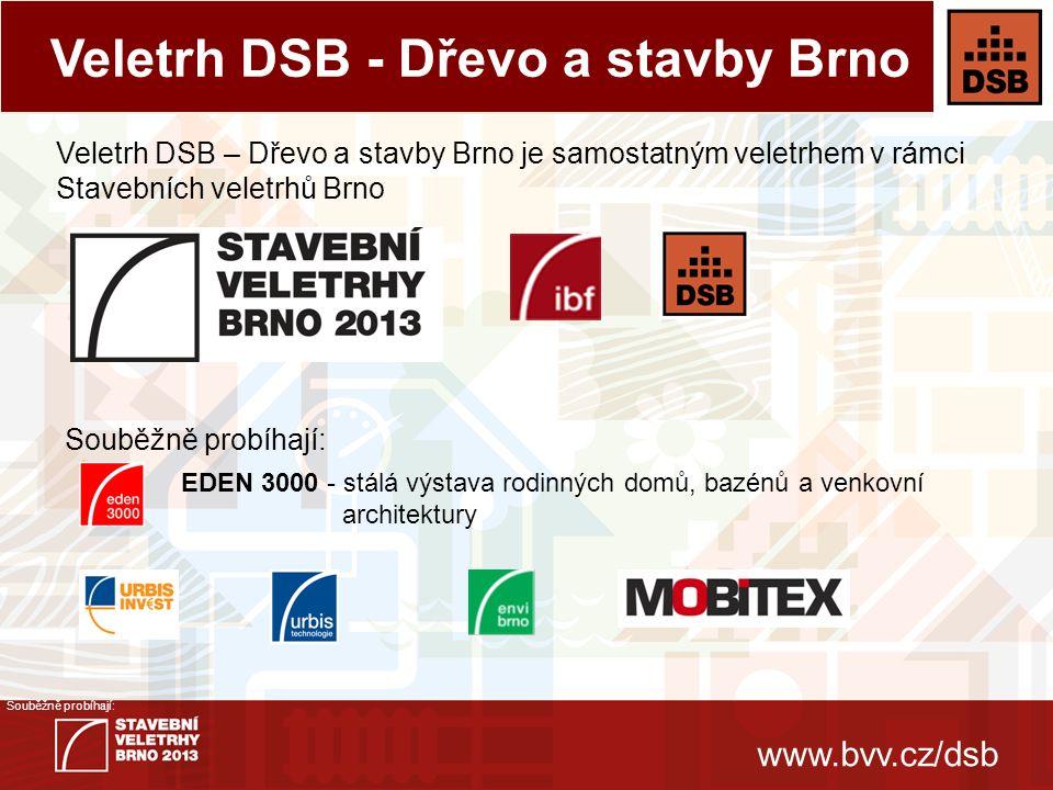 www.bvv.cz/dsb Souběžně probíhají:  Představuje jedinou a jedinečnou možnost prezentace oboru dřevostaveb odborné i široké veřejnosti na Moravě.