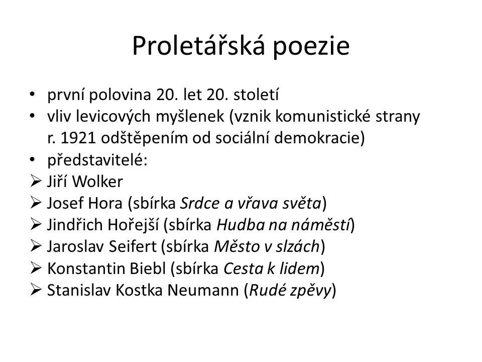 Proletářská poezie první polovina 20. let 20.