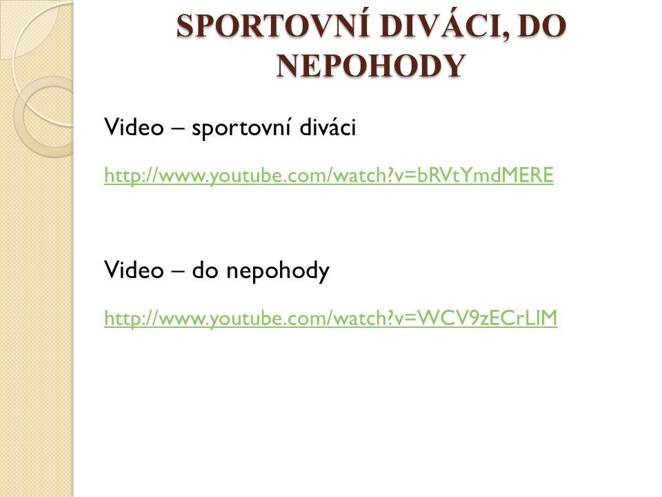 SPORTOVNÍ DIVÁCI, DO NEPOHODY Video – sportovní diváci http://www.youtube.com/watch?v=bRVtYmdMERE Video – do nepohody http://www.youtube.com/watch?v=WCV9zECrLlM