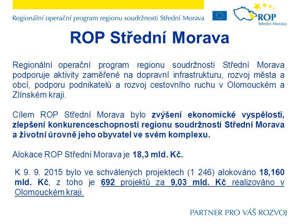 ROP Střední Morava Regionální operační program regionu soudržnosti Střední Morava podporuje aktivity zaměřené na dopravní infrastrukturu, rozvoj města a obcí, podporu podnikatelů a rozvoj cestovního ruchu v Olomouckém a Zlínském kraji.