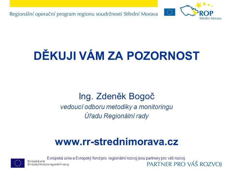 Evropská unie Evropský fond pro regionální rozvoj DĚKUJI VÁM ZA POZORNOST Ing.