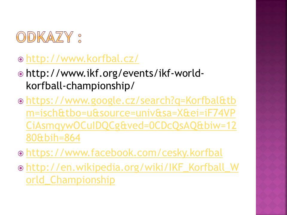  http://www.korfbal.cz/ http://www.korfbal.cz/  http://www.ikf.org/events/ikf-world- korfball-championship/  https://www.google.cz/search q=Korfbal&tb m=isch&tbo=u&source=univ&sa=X&ei=iF74VP CiAsmqywOCuIDQCg&ved=0CDcQsAQ&biw=12 80&bih=864 https://www.google.cz/search q=Korfbal&tb m=isch&tbo=u&source=univ&sa=X&ei=iF74VP CiAsmqywOCuIDQCg&ved=0CDcQsAQ&biw=12 80&bih=864  https://www.facebook.com/cesky.korfbal https://www.facebook.com/cesky.korfbal  http://en.wikipedia.org/wiki/IKF_Korfball_W orld_Championship http://en.wikipedia.org/wiki/IKF_Korfball_W orld_Championship