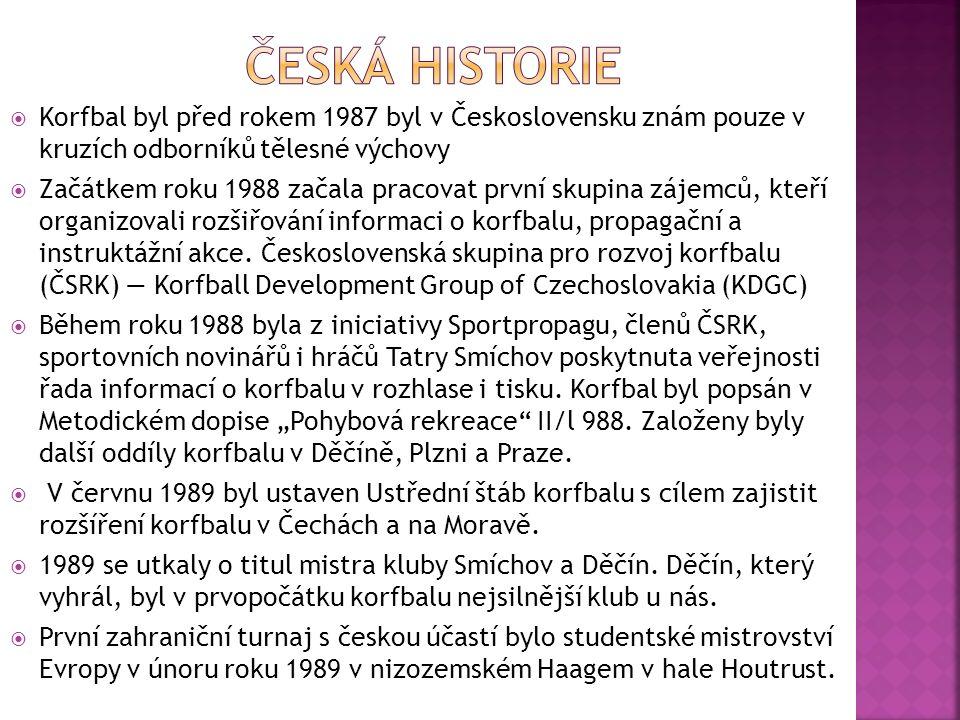  Korfbal byl před rokem 1987 byl v Československu znám pouze v kruzích odborníků tělesné výchovy  Začátkem roku 1988 začala pracovat první skupina zájemců, kteří organizovali rozšiřování informaci o korfbalu, propagační a instruktážní akce.