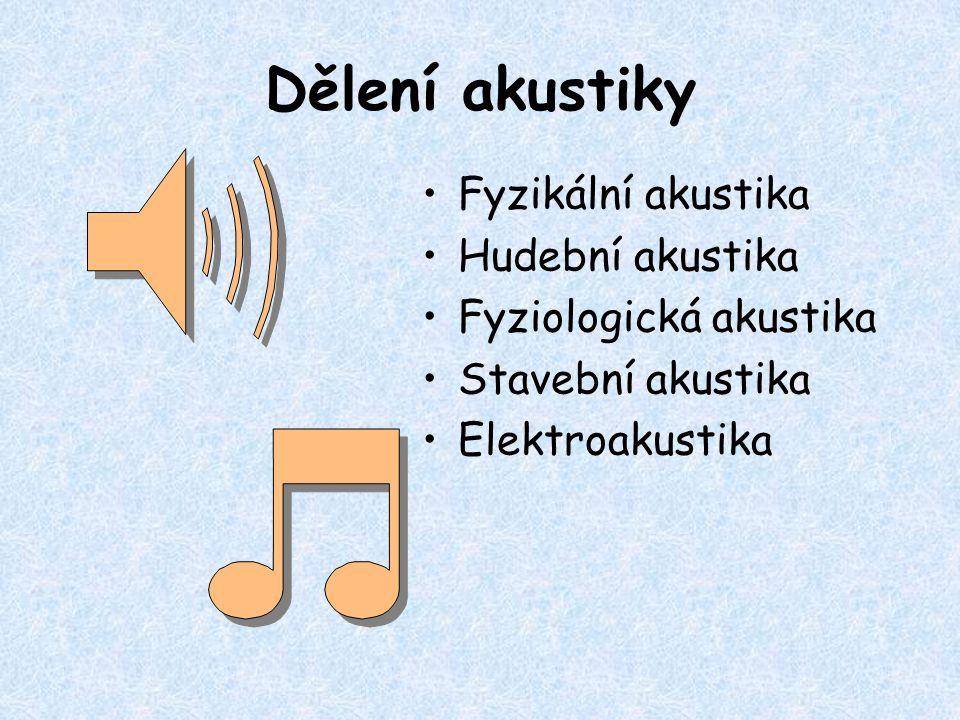 Dělení akustiky Fyzikální akustika Hudební akustika Fyziologická akustika Stavební akustika Elektroakustika