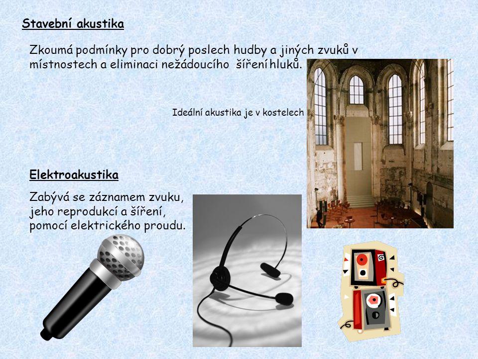 Stavební akustika Zkoumá podmínky pro dobrý poslech hudby a jiných zvuků v místnostech a eliminaci nežádoucího šíření hluků. Ideální akustika je v kos