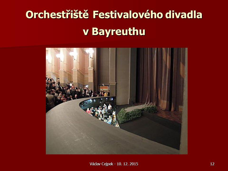 Orchestřiště Festivalového divadla v Bayreuthu Václav Cejpek - 10. 12. 201512
